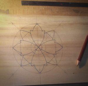 La rosace sur tilleul : dessin préliminaire