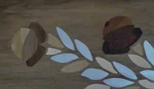 Table style Louis XVI detail marqueterie bois et zinc