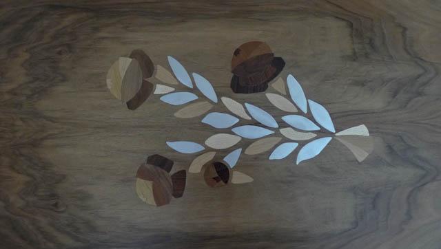 Table style Louis XVI marqueterie bois et zinc