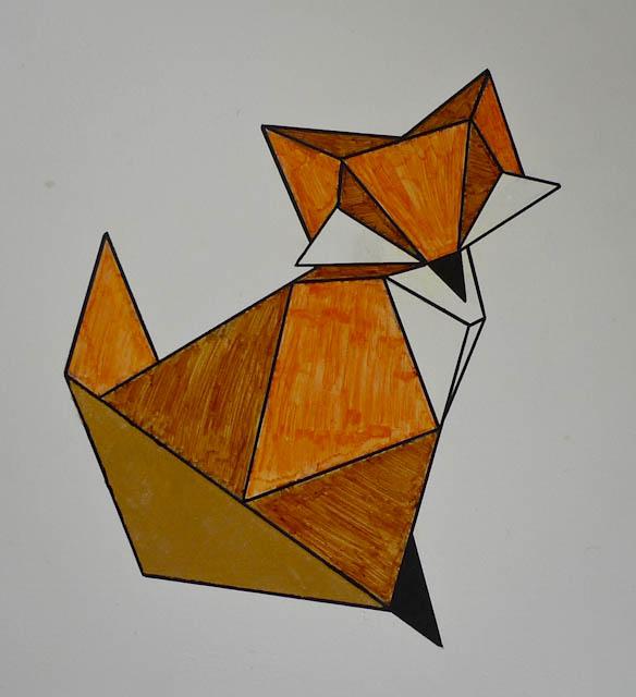 Décor peint style Origami - le renard
