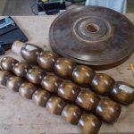 Création up-cycling tabouret-morceaux d'un pied de lampe